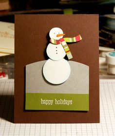 Card with a really cute snowman!  I love the simplicity of this card!