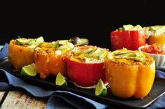 """""""Large bell peppers stuffed with taco-flavored ground beef, onion, tomatoes & cheddar cheese topped with avocado slices & freshly cracked black pepper. Food Nutrition, Beef Recipes, Cooking Recipes, Healthy Recipes, Taco Stuffed Peppers, Tacos, Looks Yummy, Mexican Dishes, Gourmet"""
