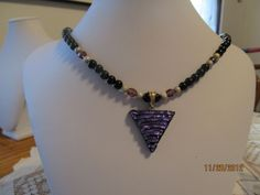 Purple Dichroic (fired) Glass Necklace