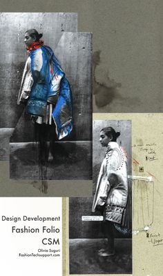 Collage made with pictures of drapings on a model to develop silhouettes using large scale versions of my textile samples; work drawings for cutting and making a final version later. Part of my work during Fashion Folio CSM. Fashion Portfolio Layout, Fashion Design Sketchbook, Fashion Design Portfolio, Portfolio Book, Csm Sketchbook, Sketchbook Layout, Logos Vintage, Logos Retro, Fashion Illustration Collage