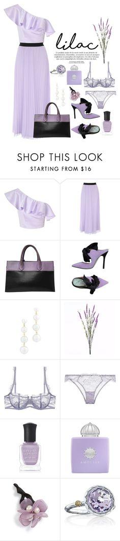 """Lilac"" by foxxyslang ❤ liked on Polyvore featuring Miss Selfridge, Balenciaga, Giannico, Rebecca Minkoff, Wyld Home, Deborah Lippmann, AMOUAGE, Cara and Tacori"