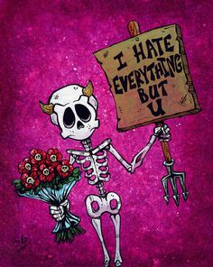 I Hate Everything But U by David Lozeau Skeleton Love Canvas Art Print Skeleton Love, Skeleton Art, Love Canvas, Canvas Art Prints, Creepy, I Hate Everything, Arte Obscura, Day Of The Dead Art, Skull Wallpaper