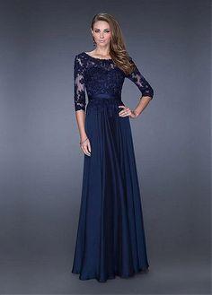 Buy discount Chic Tulle & Satin Chiffon Bateau Neckline Floor-length A-line Prom Dress at Dressilyme.com