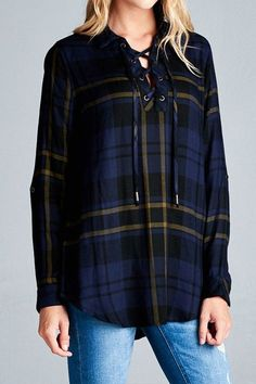 PLAID TUNIC TOP - multiple color options