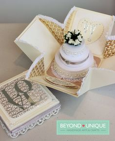 Pearl Wedding Anniversary Exploding Box Cake Design https://www.facebook.com/BeyondUniqueUK