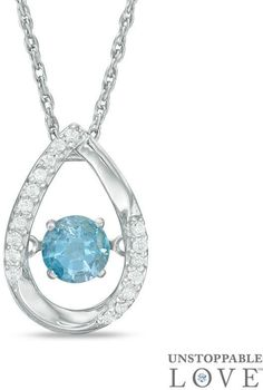 Zales 8.0mm Sky Blue and White Topaz with Diamond Accent Swirl Frame Pendant in Sterling Silver kv56u3h