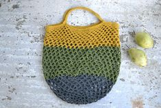 Eco friendly cotton net shopping bag  grocery bag crochet