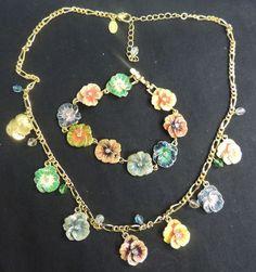 VTG Signed Designer Jewelry Necklace Bracelet Joan Rivers Enamel Pansy Flowers