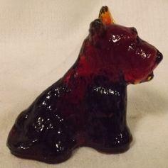 Ruby Solid Glass Scottie Dog Figurine