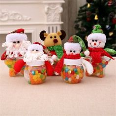 Find great deals for Christmas Candy Bottle Jar Storage Sweet Gift Box Santa Jar Container Decor Christmas Candy, Diy Christmas Gifts, Christmas Decorations, Christmas Tree, Jar Storage, Storage Boxes, Baby Food Jar Crafts, Mason Jar Gifts, Candy Jars