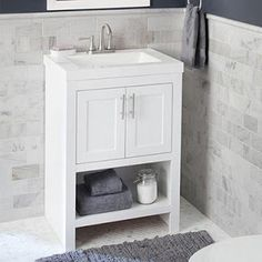 Glacier Bay Shaila in. W Bath Vanity in Silverleaf with Cultured Marble Vanity Top in White with White Sink - The Home Depot Floating Bathroom Vanities, Small Bathroom Vanities, White Vanity Bathroom, Marble Vanity Tops, Vanity Sink, Simple Bathroom, Bathroom Ideas, 24 Vanity, Compact Bathroom