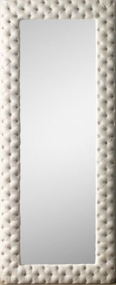 Tufted mirror. Ivory linen. Large.
