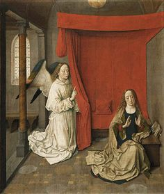 about Dieric Bouts (Netherlandish,about Annunciation; Distemper on Getty Museum,Los Angeles, California. Getty Museum Los Angeles, Robert Campin, Angelus, Google Art Project, Life Of Christ, Renaissance Paintings, European Paintings, Elements Of Art, Gothic Art