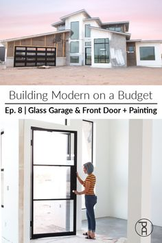 "How we painted our house inside and out and how we installed upscale glass front entry and garage doors while staying on budget. Featured ""Air 4"" From @pinkysirondoors #ad   -- Cool Diy Projects, Project Ideas, Inside Doors, Painted Front Doors, House Inside, Metal Homes, Diy Door, Modern Buildings, Diy Painting"