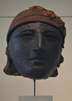 """Bronze helmet with face mask, found at Noviomagus (Kops Plateau), Museum het Valkhof, Nijmegen (Netherlands). Their were worn during tournaments, called 'hippica gymansia'. The hippika gymnasia (""""horse exercises"""") were ritual displays or tournaments performed by the cavalry of the Roman Empire to display their skill and expertise.  by Following Hadrian, Flickr"""