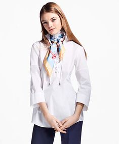 bfb87a816fd436 Brooks Brothers Lace-Up Stretch-Cotton Tunic Point Collar, Brooks Brothers  Women,