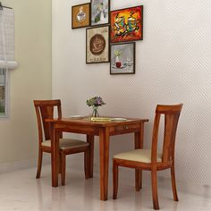 Buy Mcbeth Storage 2 Seater Dining Table Set (Honey Finish) Online in India - Wooden Street 2 Seater Dining Table, Table And Chairs, Dining Chairs, Small Dining Sets, Dinning Set, Wooden Street, Set Honey, Wood Work, Furnitures