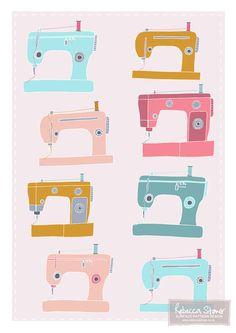 Retro Sewing Machines Art Print - by Rebecca Stoner