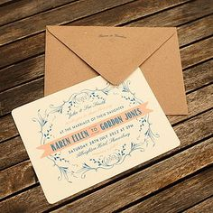 A bit of blue for a very vintage wedding invitation.