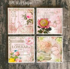 Shabby Chic Coasters,  Set of 4, Pink Yellow French Market Style on Ceramic Tile Coasters, Handmade Floral Designs, Hot and Cold Drinks by SRVintageandDesigns on Etsy