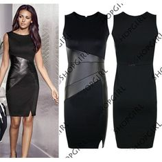 Find More Dresses Information about 2014 Woman Casual Clothes  Sleeveless Summer Sexy Slim OL Hit Color Stitching Leather Bodycon Pencil Celebrity Dresses Plus Size,High Quality Dresses from Global Trade Direct Ltd. on Aliexpress.com