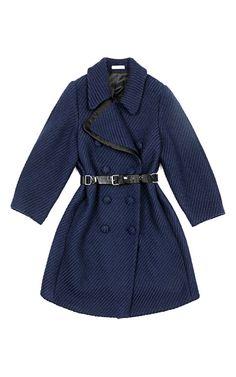 Wool Canvas Coat In Navy by Bouchra Jarrar for Preorder on Moda Operandi