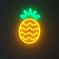 - Neon Dreams The Pineapple is a must have for any space as the universal symbol of hospitality. Now in neon for your home. Keep the summer going all year round! - Yellow and Green LED Neon - Mounted on high qualit Neon Light Signs, Led Neon Signs, Cool Neon Signs, Mellow Yellow, Neon Yellow, Neon Wallpaper, Iphone Wallpaper, Trendy Wallpaper, Custom Neon Signs
