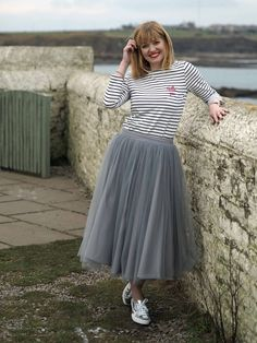 Nautical Styling With a Twist: Breton Stripes,Tulle and Silver Supergas - What Lizzy Loves Skirt Outfits, Dress Skirt, Dress Up, Superga Outfit, Full Skirts, Pleated Skirts, Grey Tulle Skirt, Breton Stripes, Dress With Sneakers