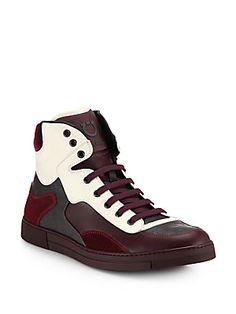 Salvatore+Ferragamo Leather+&+Suede+High-Top+Sneakers