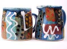 Standard mug and small jug in Blue Geometric studio pottery by Lea Phillips.