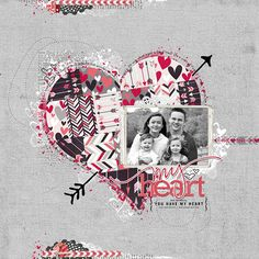 #valentine #scrapbook page from Kathleen at DesignerDigitals.com