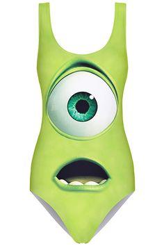 ROMWE | ROMWE Green Monster Print Swimsuit, The Latest Street Fashion