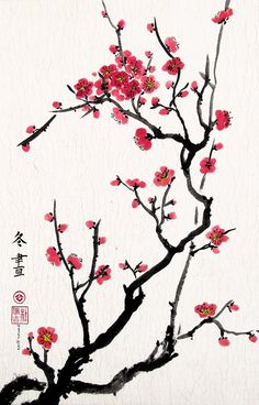 Cherry Blossoms, Giclee Print of Chinese Brush Painting By Peggy Duke, 18 x 28 Inches