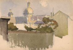 Church of the Carmes - H. Zuber - Paris 1888 - Watercolor