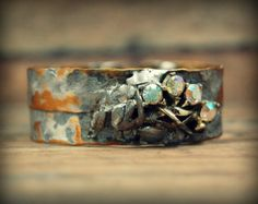 Recycled Copper and Brass Cuff Bracelet, Bohemian Metal Cuff, Rustic Oxidized Copper and Brass Jewelry, Recycled Mixed Metal Jewelry