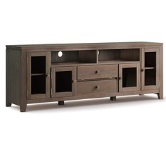 Brooklyn + Max City in Farmhouse Brown Solid Wood 72 in. Wide Contemporary TV Media Stand For TVs up to 80 in.