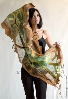 Cream and green felt and silk scarf Nuno Felt Scarf, Wool Scarf, Felted Scarf, Cooling Scarf, Diy Scarf, Chiffon Scarf, Nuno Felting, Slow Fashion, Shawls And Wraps