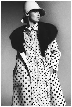 Samantha Jones in a polka-dot coat by James Galanos, photo by Bob Stone, 1972  James Galanos- American fashion designer: couturiers in the 20th century. Worn by the social scene populars in the 90's.