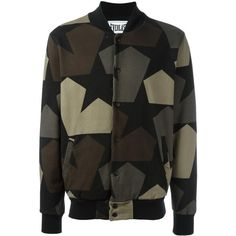 Ports 1961 camouflage print bomber jacket ($495) ❤ liked on Polyvore featuring men's fashion, men's clothing, men's outerwear, men's jackets, black, mens camo jacket, mens camouflage jacket, mens cotton jacket, mens leopard print jacket and mens cotton bomber jacket