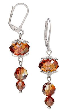 """Earrings with Swarovski Crystal and Antiqued Silver-Finished """"Pewter"""" Bead Caps"""