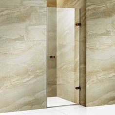 Vigo Tempo 24 inch Frameless Shower Door, 5/16 inch Clear Glass/Stainless Steel Hardware, Bronze