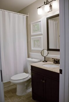 Like this color palette and vanity for upstairs bath.  Perhaps with a lighter floor tile.