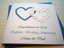 LUXURY SAPPHIRE 45th 65th WEDDING ANNIVERSARY CARD HANDMADE PERSONALISED