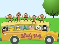 Five Little Monkeys | No more monkeys jumping on the bed | Silly Bus | K...