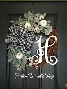 Holiday Door Wreaths, Winter Wreaths, Autumn Wreaths For Front Door, Spring Wreaths, Easy Fall Wreaths, Thanksgiving Wreaths, Farmhouse Fall Wreath, Farmhouse Front, Country Farmhouse Decor