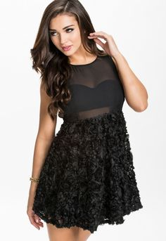 877126e5fead8 ... newest 2f006 39cb4 Black Dusty Rose Skater Dress With Mesh Lined Top ...