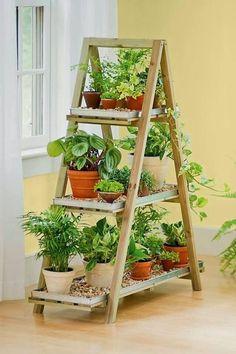 Escalera decorada con plantas