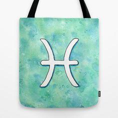 """""""Signe du Zodiaque : Poisson / Zodiac sign : Pisces"""" Tote Bag by Savousepate - $22.00 #totebag #bag #zodiac #blue #turquoise #pisces"""