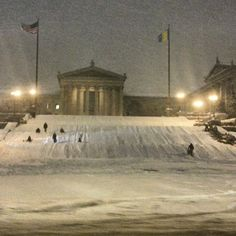 Sledding on art museum steps. Philly, PA