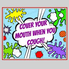 Cover Your Cough Funny Superhero Comic Print Back To School Nurse Doctor  Medical Office Decor Teacher Wall Decor Kid Health Education Poster